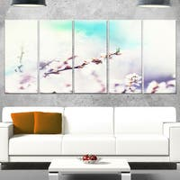 Designart 'White Cherry Blossoming Flowers' Modern Flower Canvas Metal Wall Art