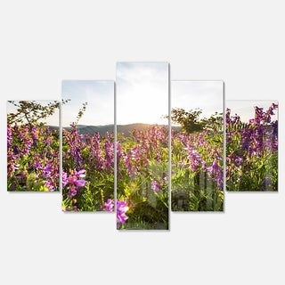 Designart 'Amazing Summer Pasture with Flowers' Modern Flower Canvas Metal Wall Art