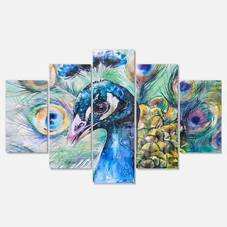 Designart 'Beautiful Peacock Watercolor' Animal Metal Wall Art