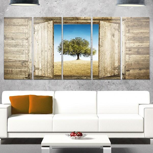 Designart 'Window Open To Solitary Tree' Modern Landscape Glossy Metal Wall Art