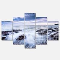 Designart 'Waves Crashing At Beach' Seashore Canvas Metal Wall Art