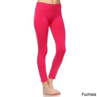 White Mark Women's Super-stretch Solid Leggings (Option: Pink)