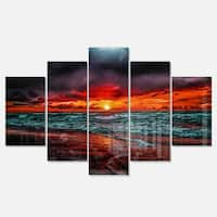Designart 'Red Sunset over Blue Waters' Seashore Canvas Metal Wall Art