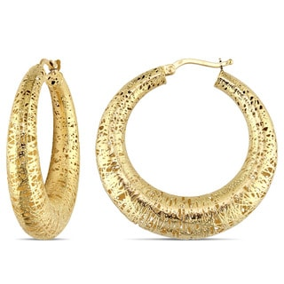 Miadora Signature Collection 18k Yellow Gold Textured Hoop Earrings