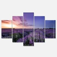 Designart 'Beautiful Lavender Flowers At Sunset' Large Floral Canvas Metal Wall Art