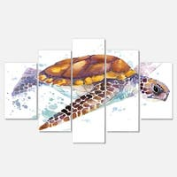 Designart 'Brown Sea Turtle Watercolor' Contemporary Animal Glossy Metal Wall Art