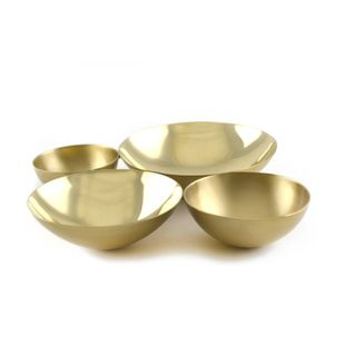 Brunei Cluster Square Goldtone Brass Conjoined Bowls