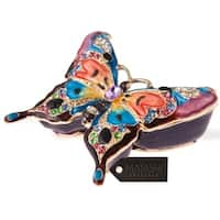 Matashi Butterfly in Flight 24k Gold, Pewter, and Crystal Embellished Hand-painted Ornament/Trinket Box