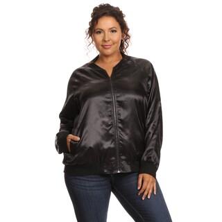 Hadari Women's Plus Size Long Sleeve Bomber Jacket 2Z Size (As Is Item)