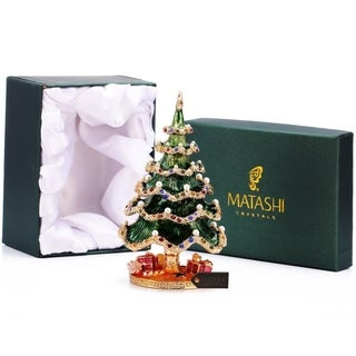 Hand Painted Holiday Christmas Tree Ornament/Trinket Box Embellished with 24K Gold and High Quality Crystals by Matashi