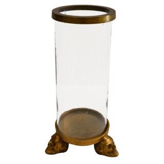 Brunei Raw Gold-tone Aluminum/Glass Cylinder Vase
