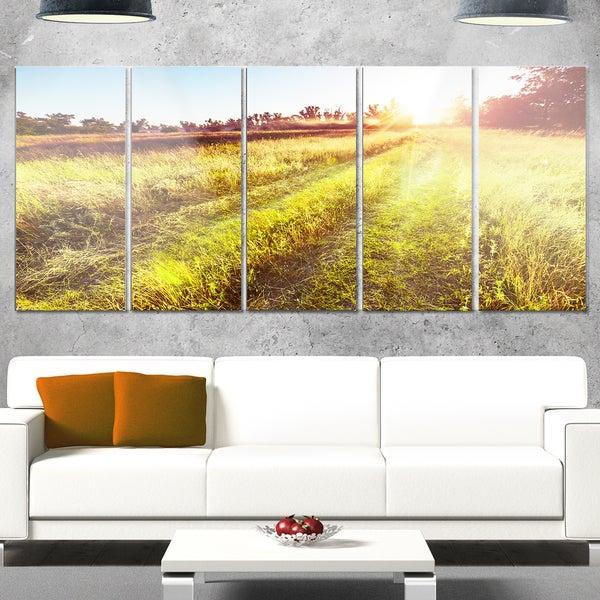 Designart \'Farm Road in Rural Meadow\' Landscape Metal Wall Art ...