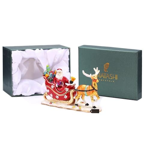 Hand Painted Santa's Reindeer Ornament/Trinket Box Embellished with 24K Gold and High Quality Crystals by Matashi
