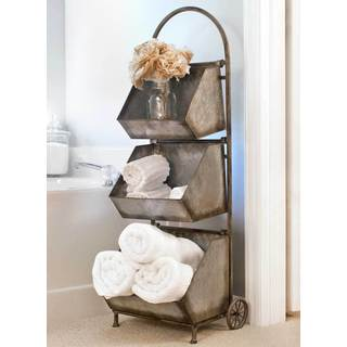 Brown Metal Removable 3-bin Rolling Storage Cart