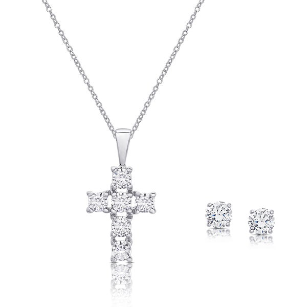 Dolce giavonna sterling silver cubic zirconia cross necklace and dolce giavonna sterling silver cubic zirconia cross necklace and stud earrings set aloadofball Image collections