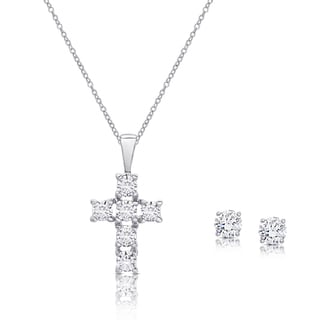 Dolce Giavonna Sterling Silver Cubic Zirconia Cross Necklace and Stud Earrings Set
