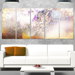 Designart 'Summer Pasture with Purple Flowers' Extra Large Landscape Glossy Metal Wall Art