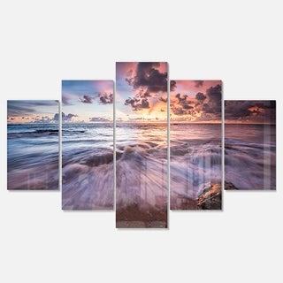 Designart 'Beautiful Sea Waves At Sunset' Beach Glossy Metal Wall Art