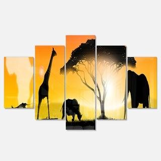 Designart 'African Wildlife Panorama' African Wall Art Glossy Metal Wall Art