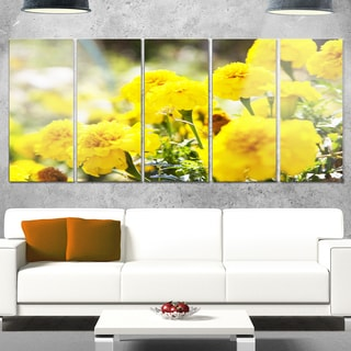 Designart 'Bright Yellow Marigold Flowers' Extra Large Floral Glossy Metal Wall Art