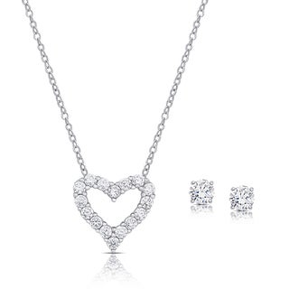 Dolce Giavonna Sterling Silver Cubic Zirconia Heart Necklace and Stud Earrings Set