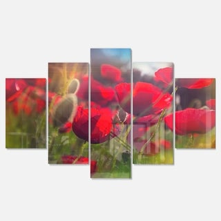 Designart 'Thick Red Poppy Flowers' Extra Large Floral Glossy Metal Wall Art