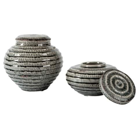 """Devonee Antique Gray Jar - Set of 2 - Jar-small: 7.75"""" W x 7.75"""" D x 4.75"""" H"""