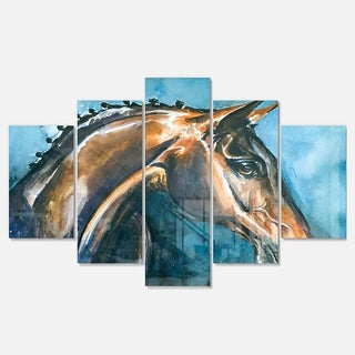 Designart 'Brown Horse on Blue Watercolor' Animal Metal Wall Art