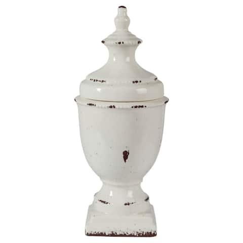 """Devorit Antique 17-Inch White Jar - 8.5"""" W x 8.5"""" D x 19.75"""" H"""