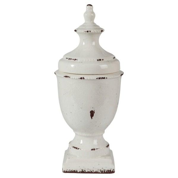 Devorit Antique 17-Inch White Jar