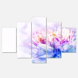 Designart 'Blue Flower Watercolor' Floral Metal Wall Art on Canvas