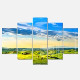 Designart 'Colorful Tuscany Countryside Farm' Landscape Glossy Metal Wall Art