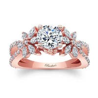 Barkev's Designer Round and Marquise Cut Diamond Engagement Ring in 14KT Rose Gold with 0.90 ct in side diamonds