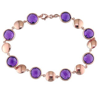 Miadora Signature Collection 18k Rose Gold Amethyst Beaded Bracelet