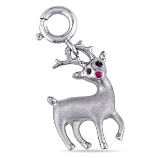 Miadora Sterling Silver Black Diamond Accent and Created Ruby Rudolph the Red-Nosed Reindeer Dangle Charm