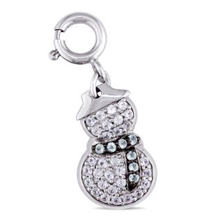 Miadora Sterling Silver and Black Rhodium Created White Sapphire and Sky-Blue Topaz Snowman Charm Pendant