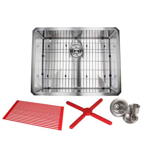 "Ariel 26"" Stainless Steel 15mm Radius Single Bowl 16 Gauge Undermount Kitchen Sink Complete Combo Accessories"