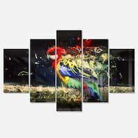 Designart 'Colorful Parrot on Branch' Large Animal Glossy Metal Wall Art