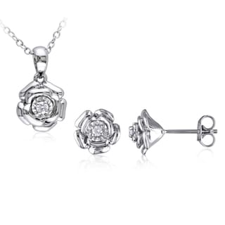 Miadora Sterling Silver 1/10ct TDW Diamond Flower Stud Earring and Necklace Set