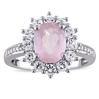 Miadora Sterling Silver Oval-Cut Rose Quartz Created White Sapphire and Diamond Accent Floral Halo Ring (G-H, I2-I3)