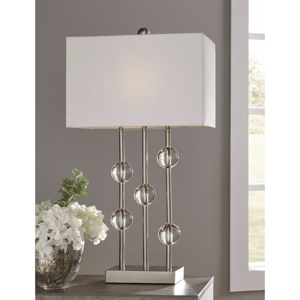 Signature Design by Ashley Jaala Silver Finish Metal Lamp