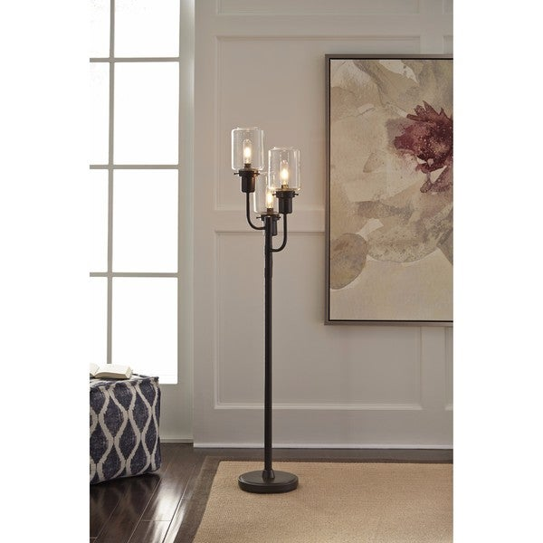 Signature Design by Ashley Jaak Bronze Finish Metal Floor Lamp