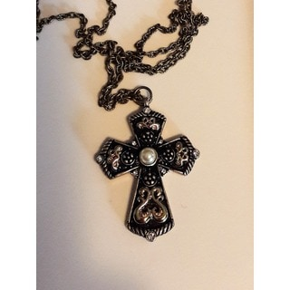 Faux Pearl Cross Necklace