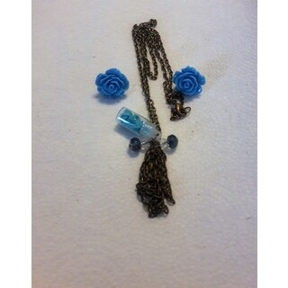 Necklace and Blue Rose Stud Earrings Set