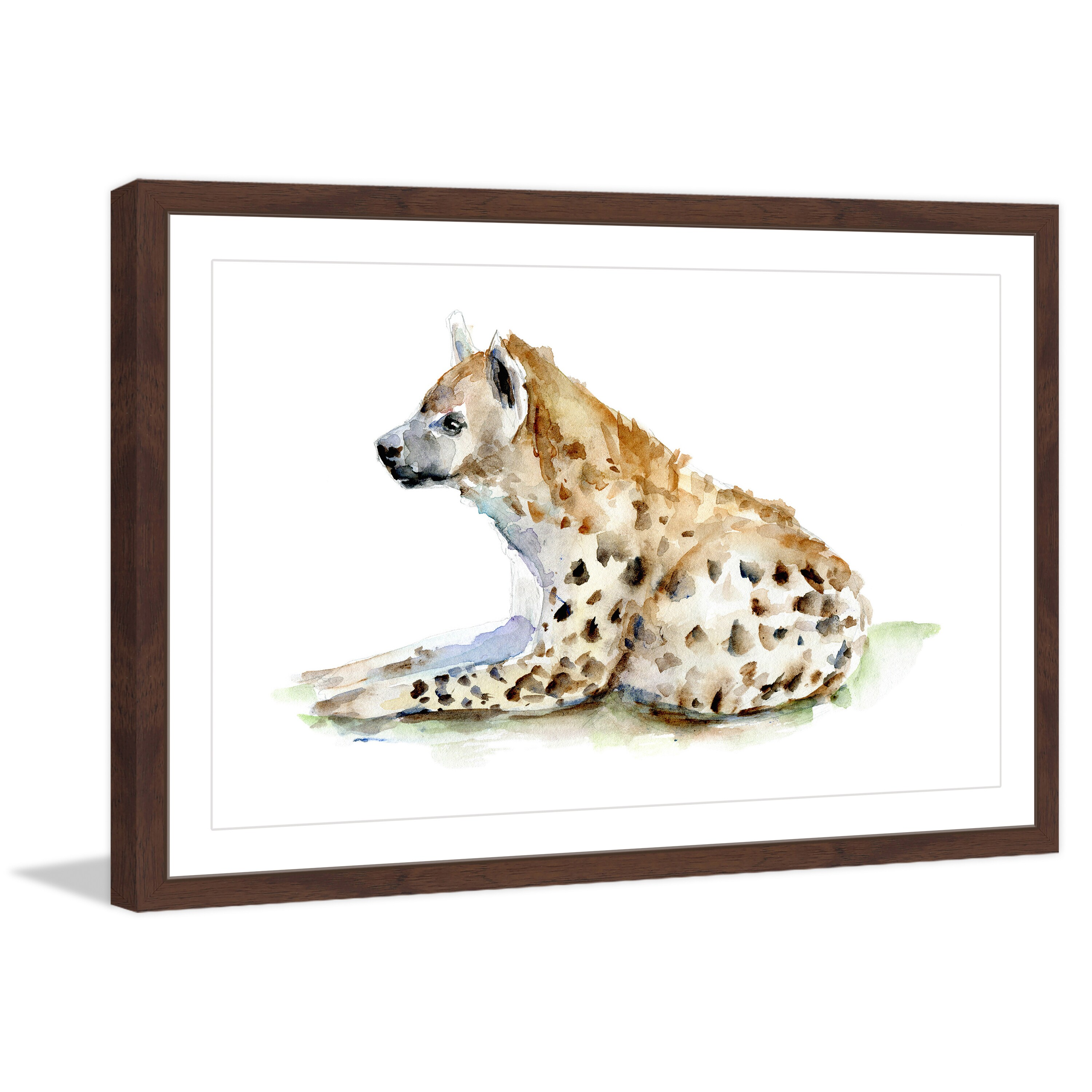 Marmont Hill Hyena' by Michelle Dujardin Framed Painting Print (18 x 12), Brown, Size Medium (Aluminum)