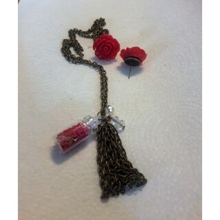 Necklace and Red Rose Stud Earrings Set