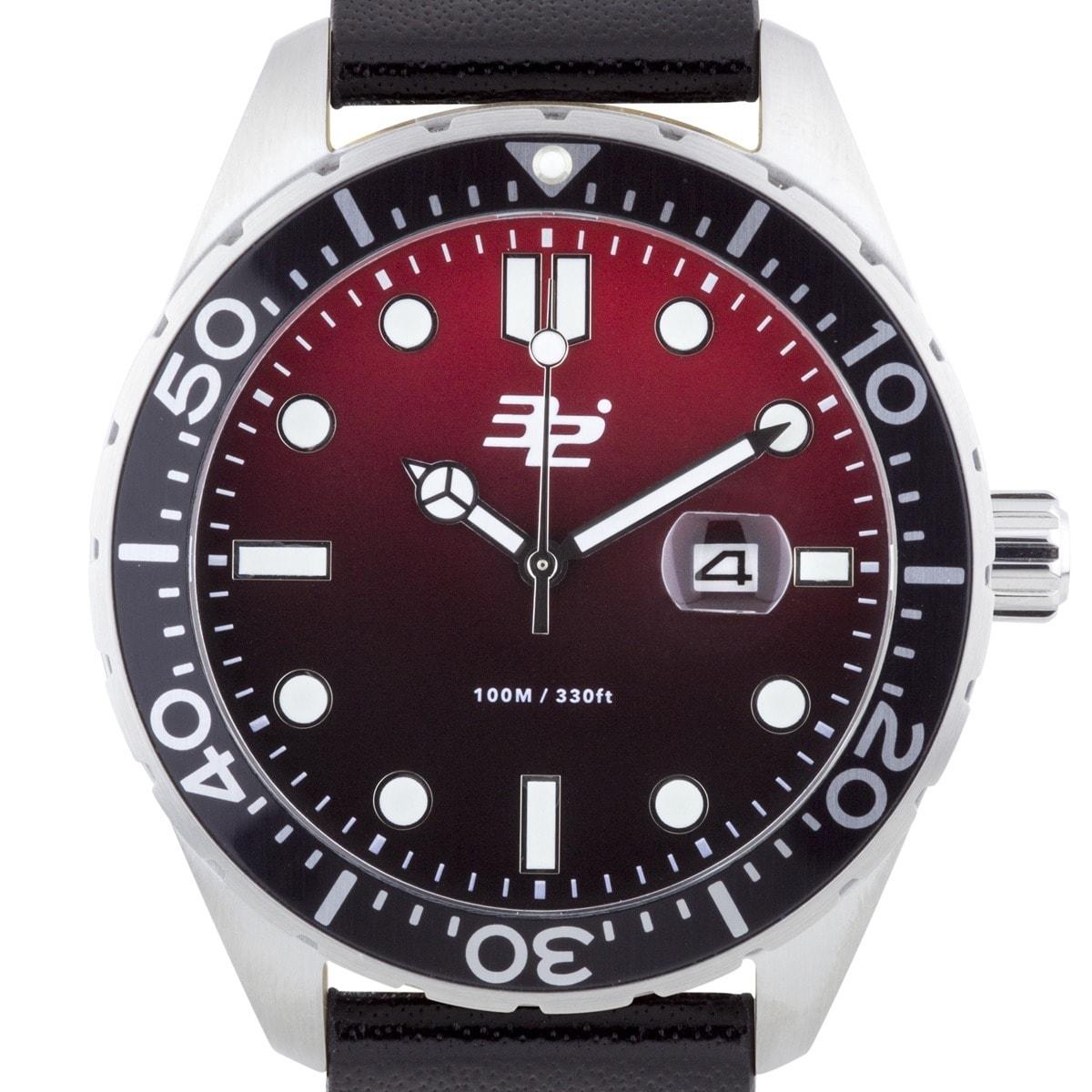 32 Degrees Aquada Men's Diver Watch (Silver-Tone), Red, S...