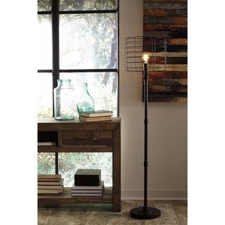 Signature Design by Ashley Javan Antique Black Metal Floor Lamp