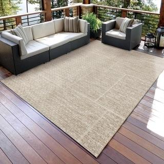 Carolina Weavers Boardwalk Collection Breezy Squares Beige Area Rug (5'1 x 7'6)