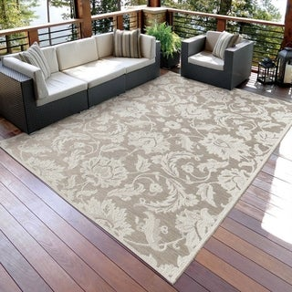 Carolina Weavers Seaside Collection Dimensions of Floral Beige Rug (5'1 x 7'6)